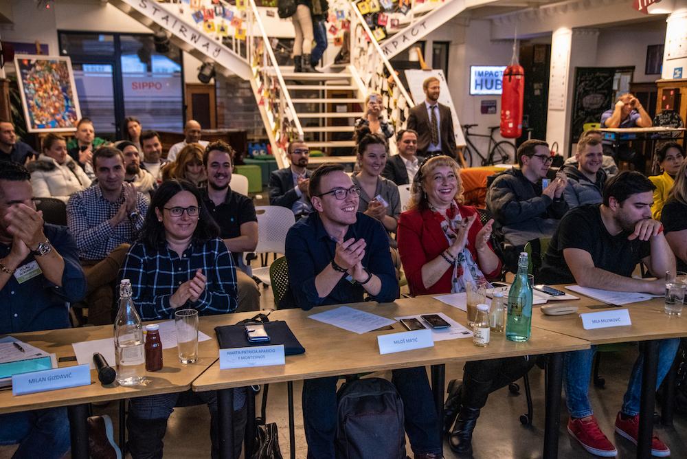 Demo day december 2019 - Serbian startup ecosystem jury - Mila Milenkovic, Telekom Serbia, Marta Patrizica Aparicio y Montesinos of Keymon Angels-Business Angel Network, Vukasin Stojkov of Satartit Serbia and Milos Matic of ICT Hub Ventures